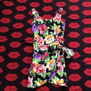 Dresses & Skirts - Vintage 80s black floral sarong wrap dress S